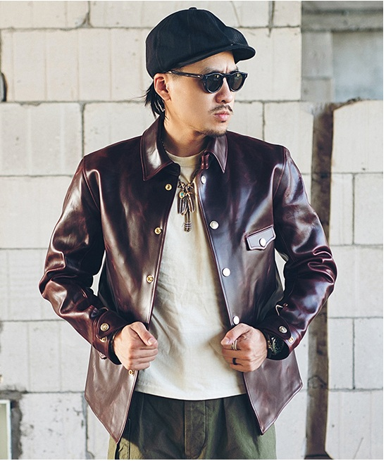 YR!Free Shipping.Luxury Level 1.1MM CXL Tea Core Cowhide Jacket,classic Brake Man Genuine Leather Outwear.vintage Quality Coat