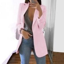 Casual Women Pockets Cardigan Blazer Long Sleeve Jacket Suit
