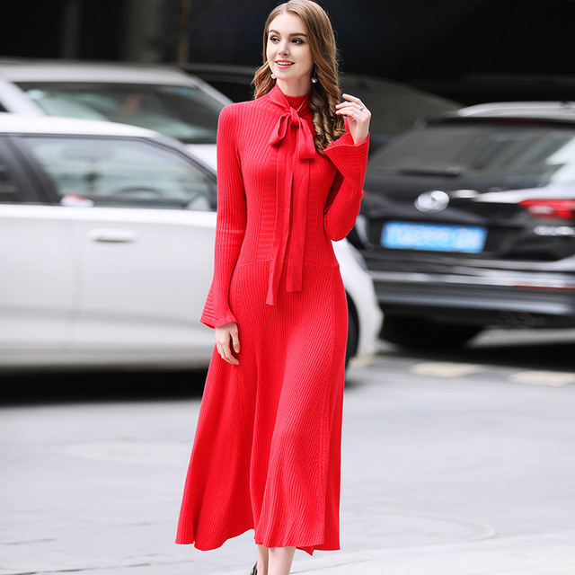 Autumn Winter Thick Sweater Dress Women Solid Long Flare Sleeve Half-high Neck Knitted Dress A-line Midi Sweater Dress P-152