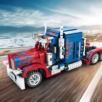 Legoing Technic Series Creator Pull Back Car Compatible Movie Transformation Optimus Prime Truck Model Building Blocks Kid's Toy