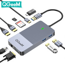 QGeeM Docking Station USB Hub 3.0 Triple Display Dual HDMI VGA USB Adapter Splitter for Xiaomi Laptops USB3.0 Hub PC Accessories