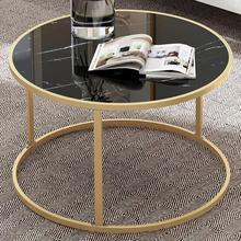 Tea-Table Marble Living-Room-Furniture Round Bedroom Office Magazine-Shelf Wooden