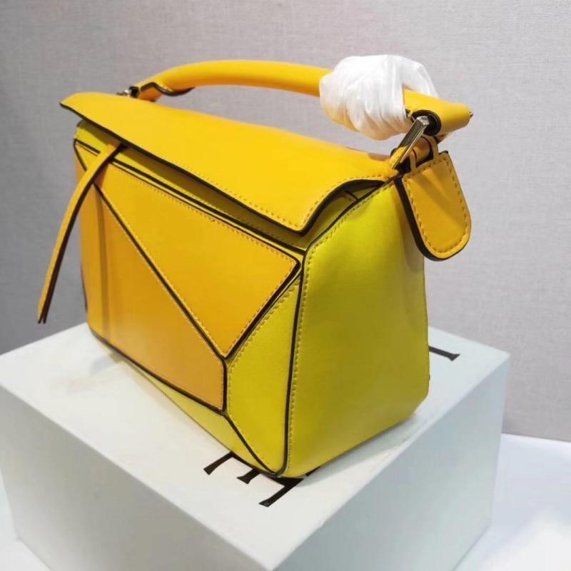 Bolso de mujer de marca con paneles de diseño Real de cuero de vaca suave bolso geométrico para mujer bolsos de hombro con correa larga bolsa de asas - 2