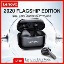 Originele Lenovo LP40 Tws Oortelefoon Echte Draadloze Bluetooth 5.0 Stereo Bass Met Mic Handsfree Oordopjes Ai Controle IPX5 Waterdicht
