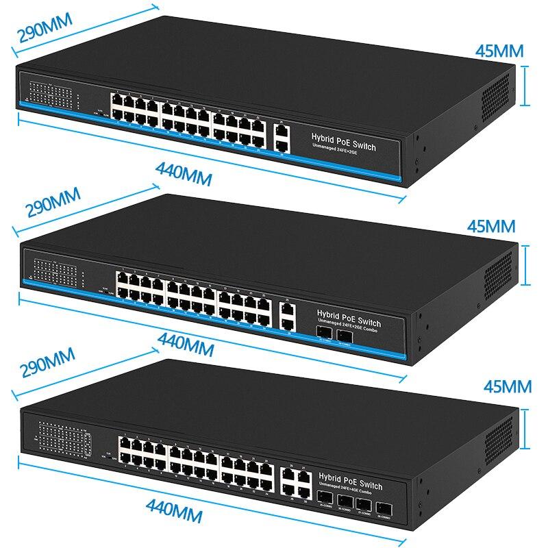 Image 2 - 24 Порты и разъёмы 10/100 Мбит/с переключатель Ethernet sup Порты и разъёмы IEEE802.3af/at с 2 Порты и разъёмы 1000 м для программирования в производственных условиях комбо poe переключатель poe 48V RJ45-in Сетевые коммутаторы from Компьютер и офис