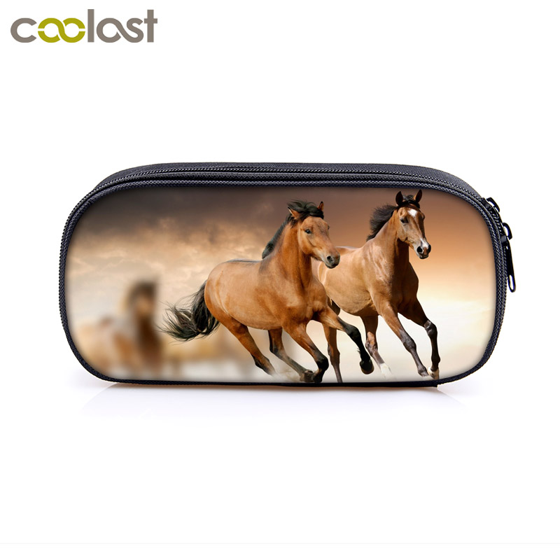 elegant animal horse / pony print Cosmetic Cases pencil bag women makeup bags boys girls pencil box kdis school supplies gift