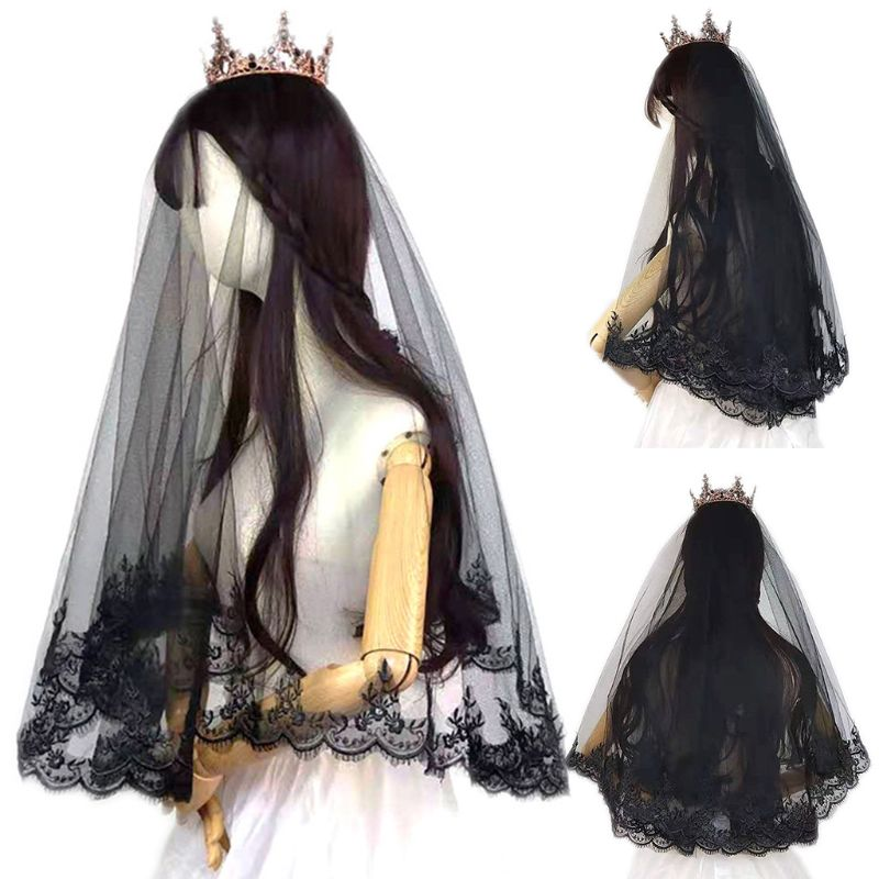 Single Layer Women Girls Cover Face Mantilla Black Wedding Veil Embroidery Eyelash Floral Lace Trim Halloween Cosplay Costume