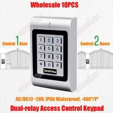 10 Stks/partij 2 Deuren Dual Relais Ac Dc 12V 28V Waterdicht Toegangscontrole Toetsenbord IP66 Outdoor Rfid kaartlezer Elektronische Lock Opener