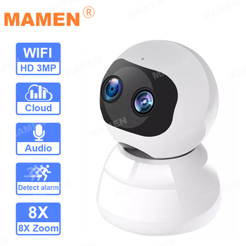 HD 1080P Dual Lens PTZ Wifi 8XP Zoom Camera indoor Auto Tracking Cloud CCTV Home Security IP Camera 3MP Audio Speed Dome Camera hd 1080p outdoor wifi tracking camera cloud storage home security ptz ip camera auto speed dome 2mp camera wireles with tf card