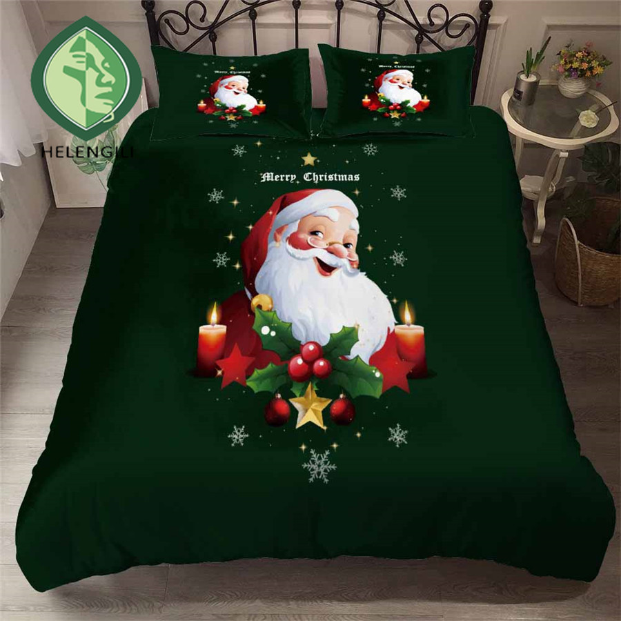 HELENGILI 3D Bedding Set Christmas Print Duvet Cover Set Bedclothes With Pillowcase Bed Set Home Textiles #YC-273