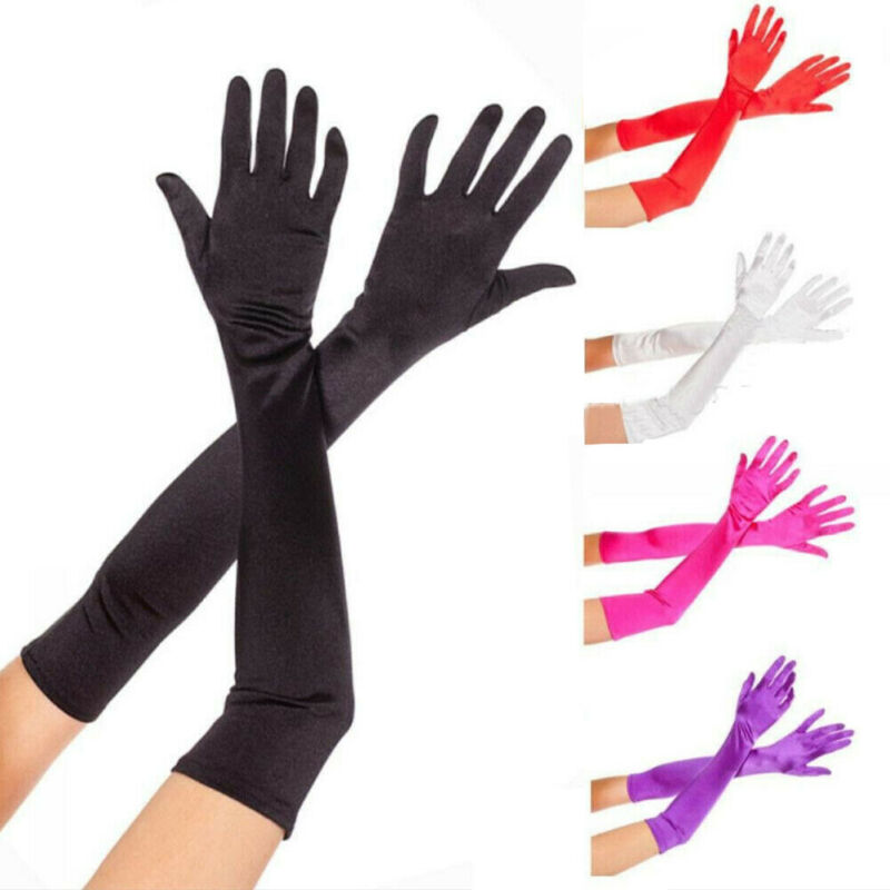 Sexy Women Evening Party Formal Gloves Satin Long Finger Mittens Bridal Wedding Arm Warmers