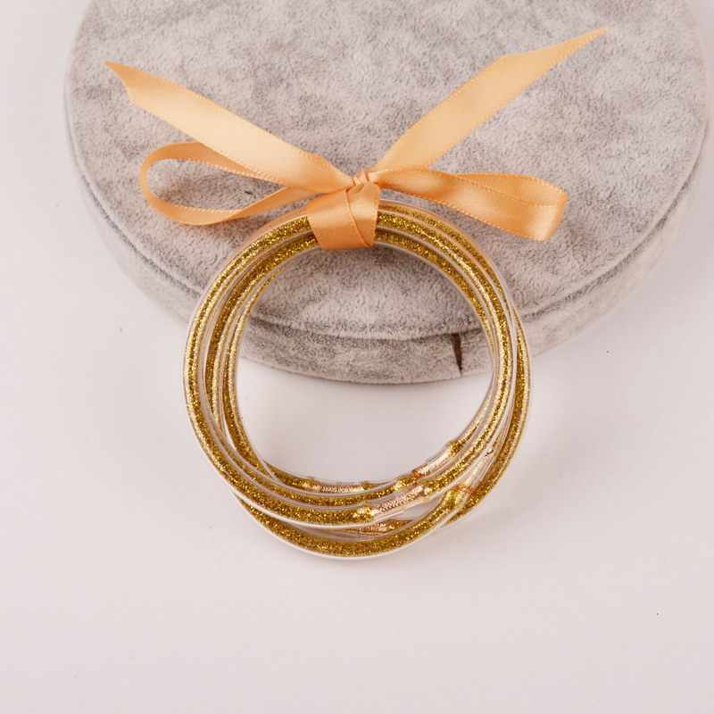 Rainbery 5 PCS/Set Bowknot Gold Silver Glitter Bangles Set 2019 All Weather Stack Silicone Plastic Glitter Jelly Bangles