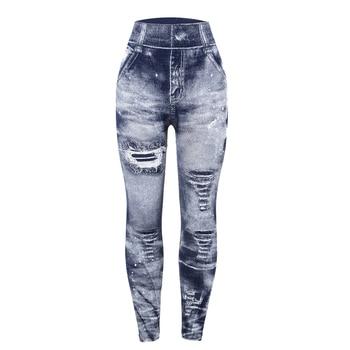 Women Imitation Jeans Leggings Slim Elastic Pencil Pants Casual Tights 2019 New Items for Autumn Fashion Hole Vintage Denim Pant 2