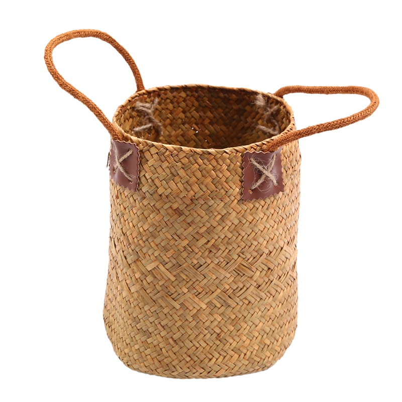 Home Garden Grass Laundry Basket Storage Baskets Hanging Basket Flower Pots Vase Planter Organizer S