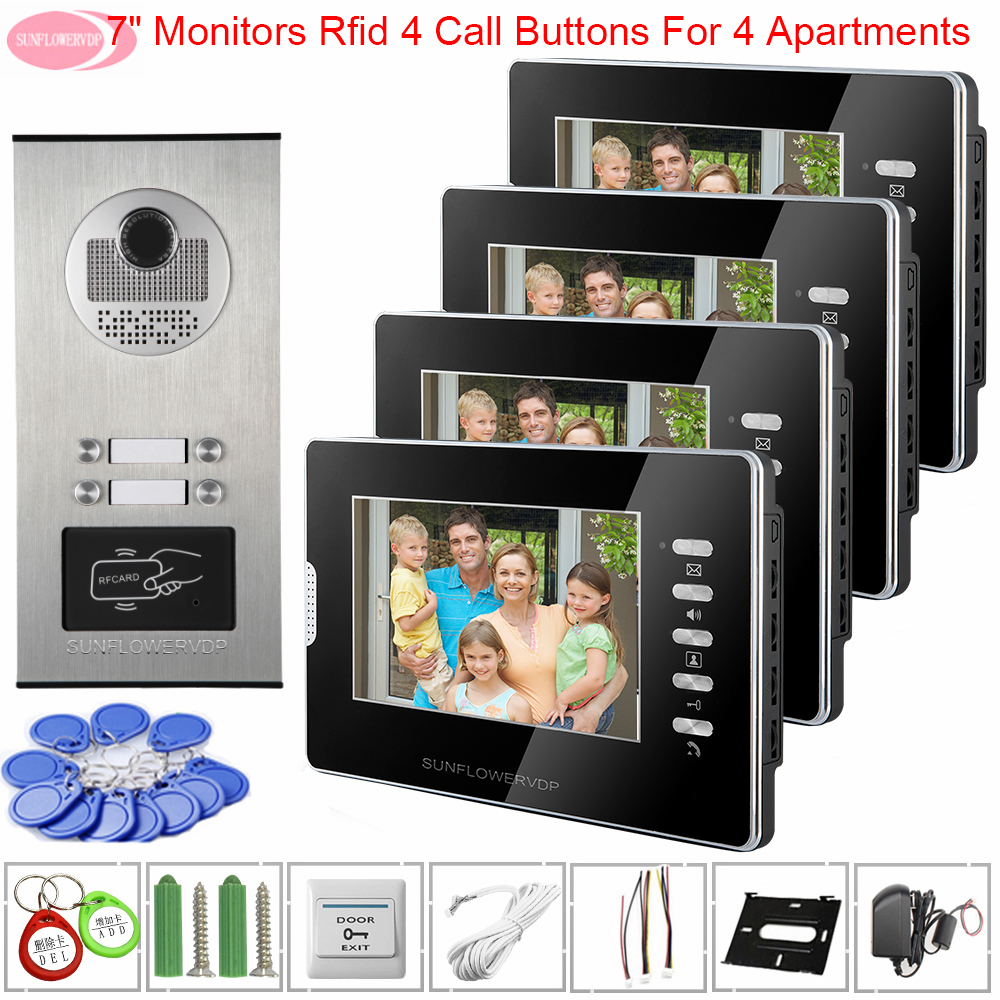 Video Intercoms For A Private House Access Control 7inch White / Black 4 Monitors Video Door Phone Intercom System Home Securit