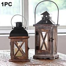 Wedding European Style Hanging Garden Wood Metal Candle Holder Handmade Lantern Decoration Exquisite With Handle Vintage Home