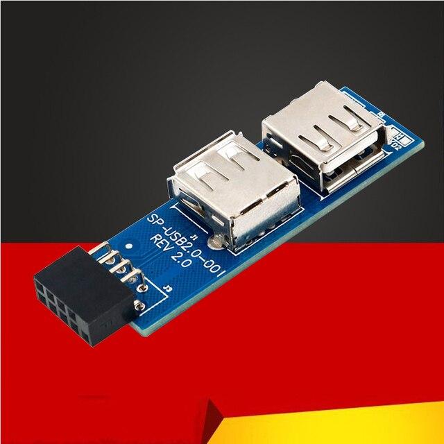 USB HUB 9Pin PC Host Internal Motherboard USB 2.0 Hub 9Pin to 2 Port USB A Female Splitter Converter PCB Board Extender Card NEW