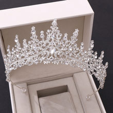 Tocado de lujo para novia, tiara de corona con diamantes de imitación de cristal, diadema para mujer, diadema de boda, joyería para el cabello, accesorios para el cabello