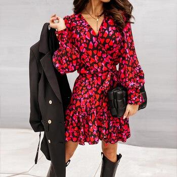 Larga primavera linterna manga imprimir vestido de mujer elegante volantes rojo con...