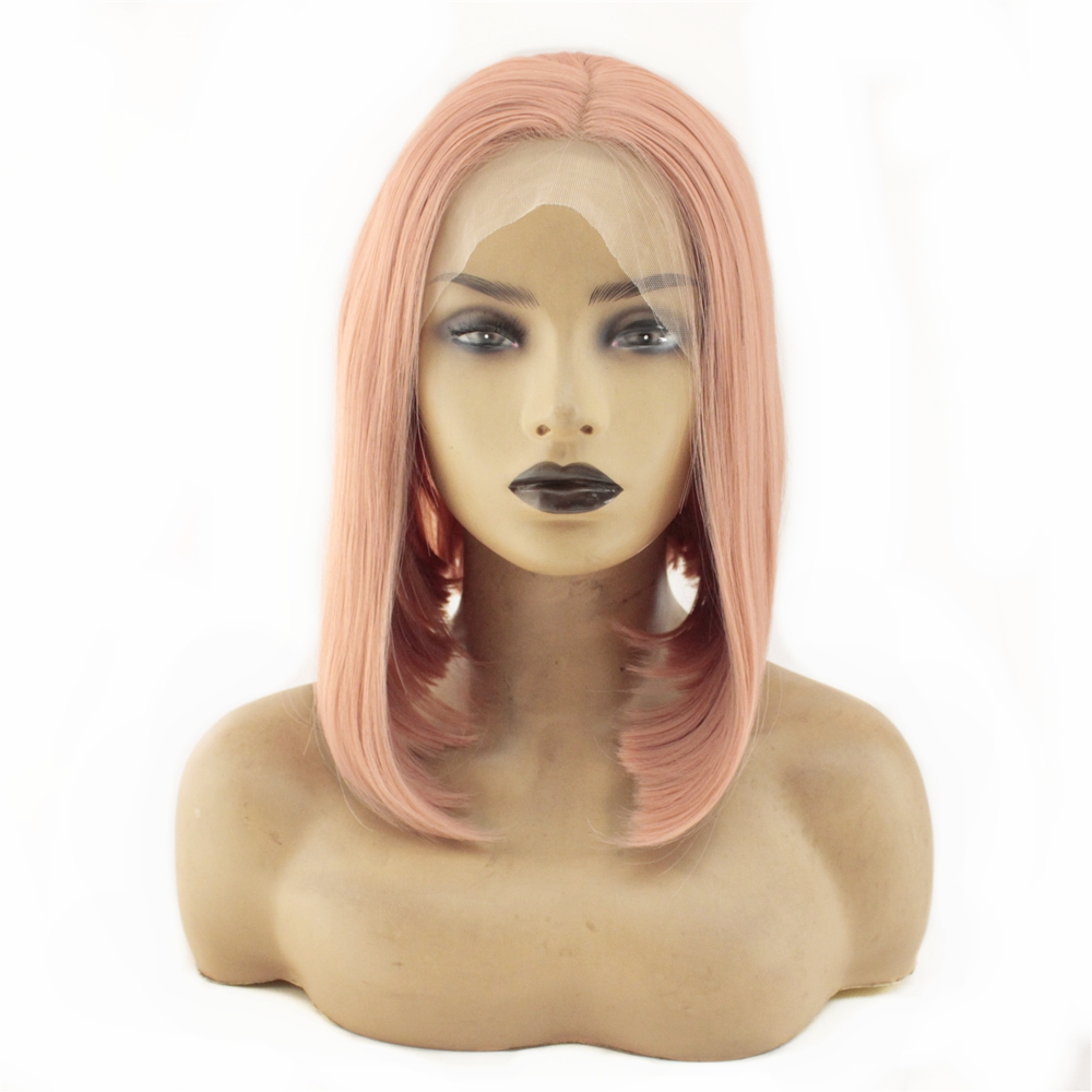 Short Bob Wigs Rose Pink Straight Synthetic Lace Front Wigs for Women Heat Resistant Glueless Lace Wigs 150% Density Middle Part