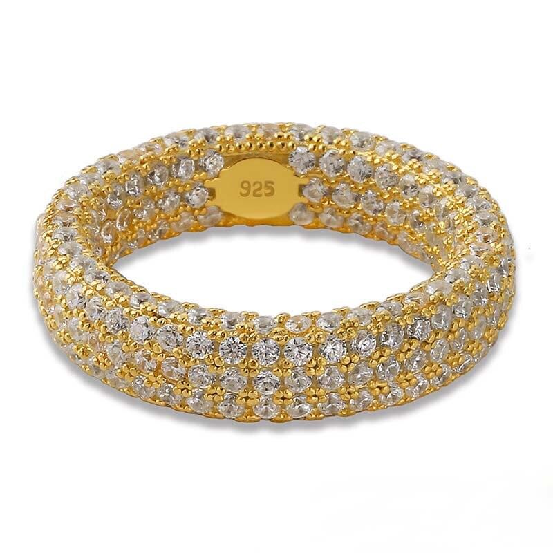 Dazz S925 argent luxe or Chic Simple anneau dames de mariage cubique Zircon fête de fiançailles Dubai mariée doigt bijoux cadeaux 2019