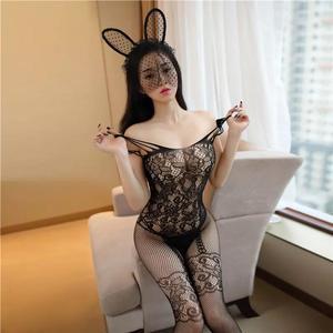 Image 4 - Şeffaf erotik iç çamaşırı kadınlar için Hollow Out Mesh seksi kostümleri porno oyuncak bebek Cosplay bebek seks kıyafetleri dantel Bodysuit