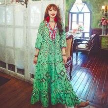 Летнее Длинное Платье в стиле ретро свободное пляжное платье
