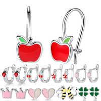 Mode 925 argent Sterling cubique zircone trèfle coeur coccinelle pomme boucles d'oreilles pour les femmes Bijoux de mariage Bijoux Brincos