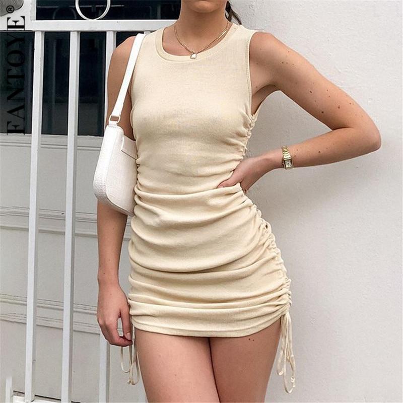 Fantoye Katoen Ruches Trekkoord Sexy Party Dress Vrouwen Mouwloze Elastische Mini Jurk Vintage Zomer Bodycon Club Wear Vestidos 1