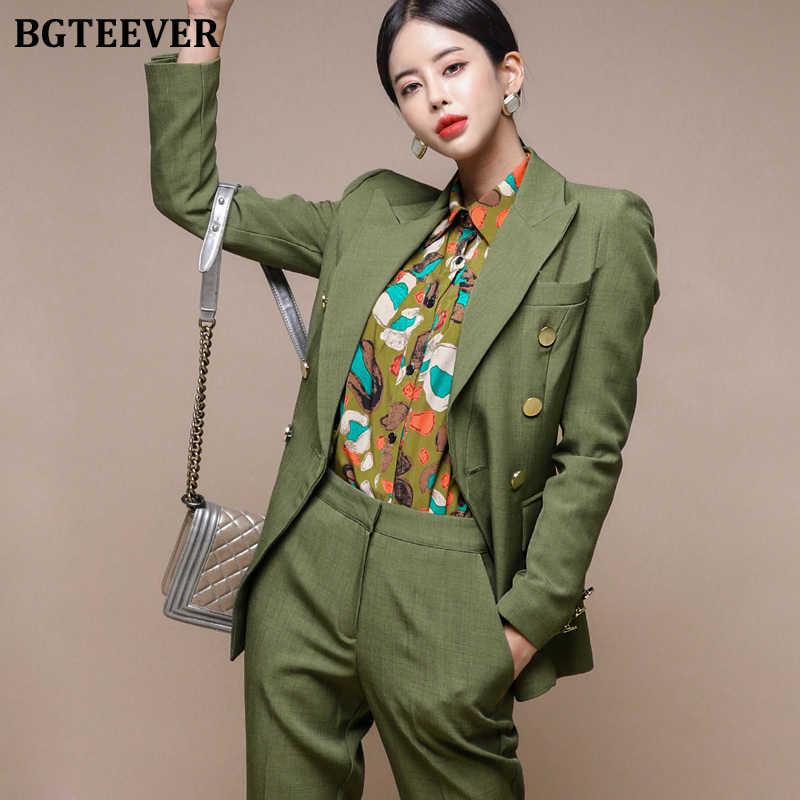 ファッショングリーンの女性のブレザーセットダブルブレストスリム & ペンシルパンツ女性パンツスーツ作業スーツ女性 2 個セット