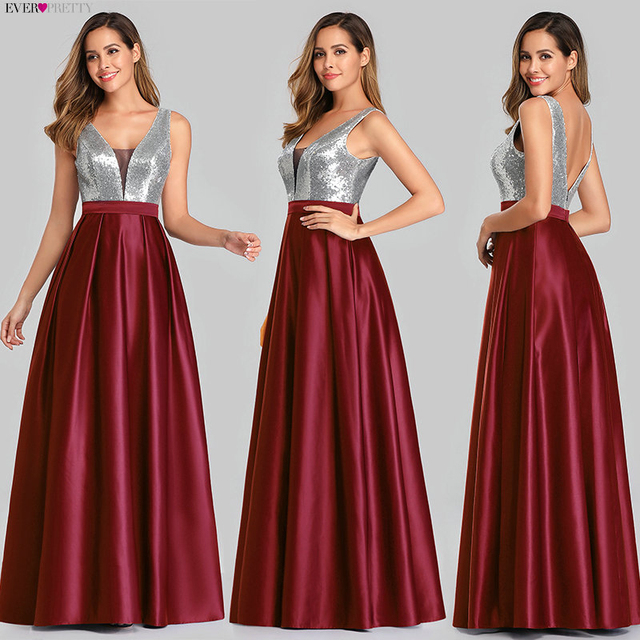 Ever Pretty V-Neck Sequined Bodice Backless A Line Long Evening Dresses Elegant Vestido De Festa Fast Shipping Satin Prom Gowns 2