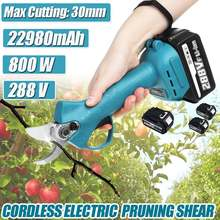 Ciseaux électriques rechargeables sans fil 288V 800W, ciseaux d'élagage, outil de jardin, Branches, outils d'élagage avec 2 batteries Li-ion