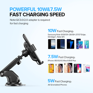 Image 3 - Ugreen  Qi Car Wireless Charger 7.5W For iPhone 11 X 8 Samsung Xiaomi Car Mount Fast Wireless Charging Car Phone Holder Charger