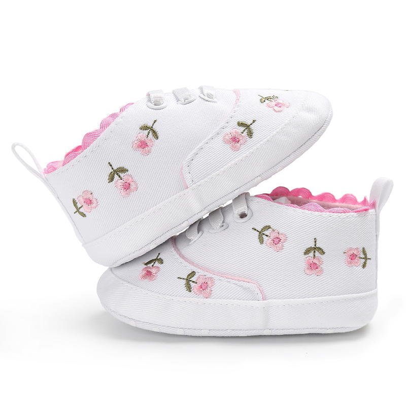 Baby Girl Shoes Floral Embroidered Soft Shoes Prewalker Walking Shoes 0-6M