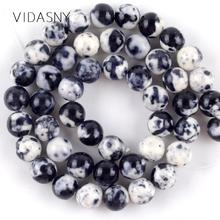 Natural Mineral Black White Spotted Rain Flower Stone Beads For Jewelry Making 4-12mm Loose Diy Bracelet Necklace 15