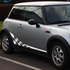 Image 4 - 2 pçs listras laterais da porta do carro saia corpo decalque corrida treliça estilo adesivos para mini cooper r50 r52 r53 r56 f56 r60 acessórios