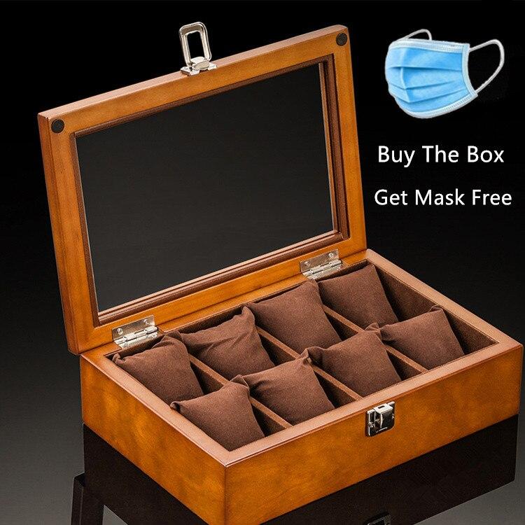 8 слотов деревянные коробки для часов кофейные часы чехол для хранения с стеклянный дисплей часов ювелирные изделия подарочные футляры