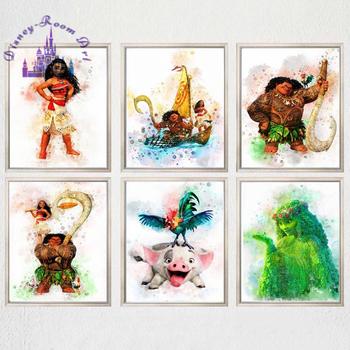 Disney księżniczka Moana Cartoon obraz na płótnie Moana plakat z nadrukiem Maui Pua Hei Hei TeFiti Moana akwarela przedszkole dekoracje ścienne tanie i dobre opinie CN (pochodzenie) Wydruki na płótnie Pojedyncze PŁÓTNO Wodoodporny tusz bez ramki Nowoczesne I183 Malowanie natryskowe