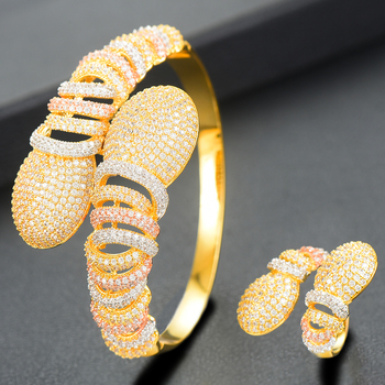 DAZZ Luxury Bangle/Ring Cubic Zircon Jewellery Set.