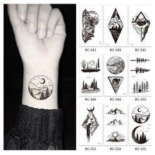 5 Pçs/set Montanha Floresta Padrão Tatuagem Temporária Adesivos Preto À Prova D' Água Descartável Arte Corporal Maquiagem tatouage temporaire