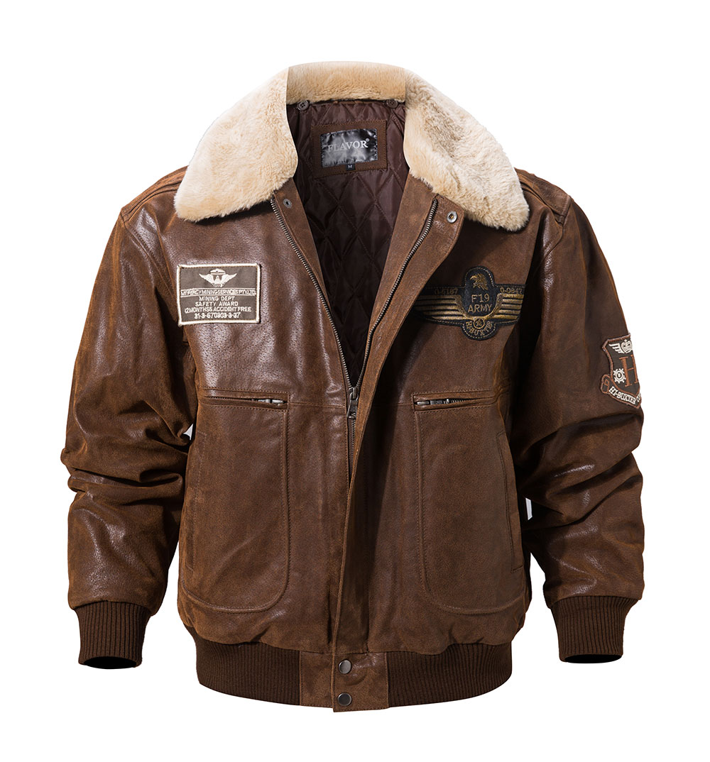 Hdaf2fb5cfd6b47ec96ef6f04b0a49f24f FLAVOR New Men's Real Leather Bomber Jacket with Removable Fur Collar Genuine Leather Pigskin Jackets Winter Warm Coat Men