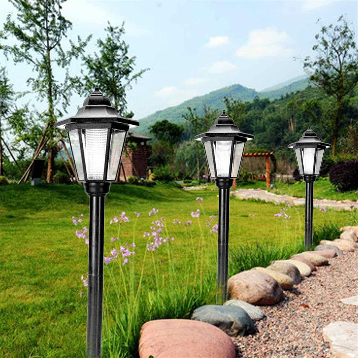 Lawn Lamp Post Outdoor Garden Lanterns Pillar Yard Garden Decoration Lighting White Light LED Solar Light Under Ground