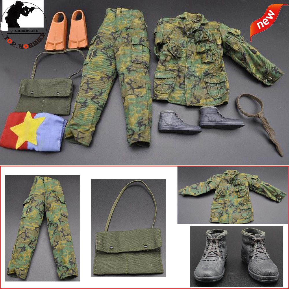 1:6 Soldier Military Model Modern Special Forces Jungle Camouflage Combat Equipment Clothing Suit Boots Fit 12Action Figure image