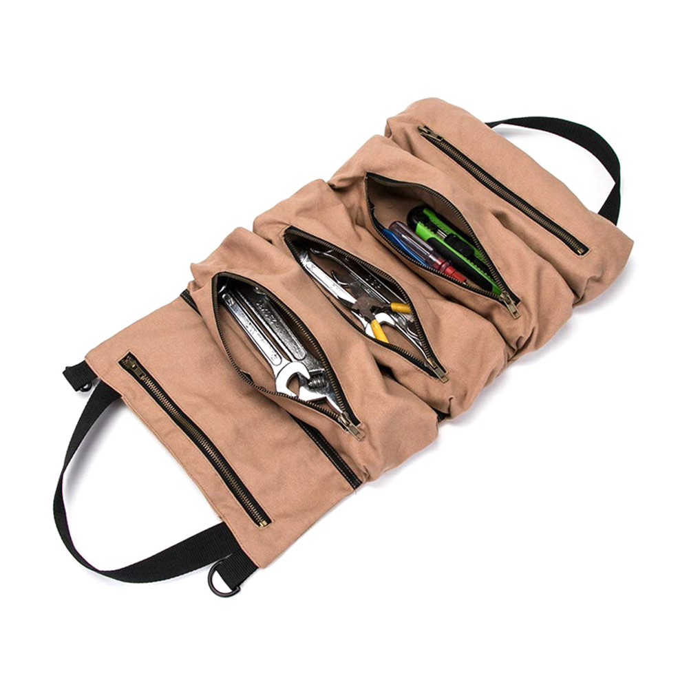 Tool Roll Up Bag Car 5 Zippered Pockets Waxed Canvas Storage Pouch Tools Tote Carrier Sling Holder Tool Bag Tools Storage Bag