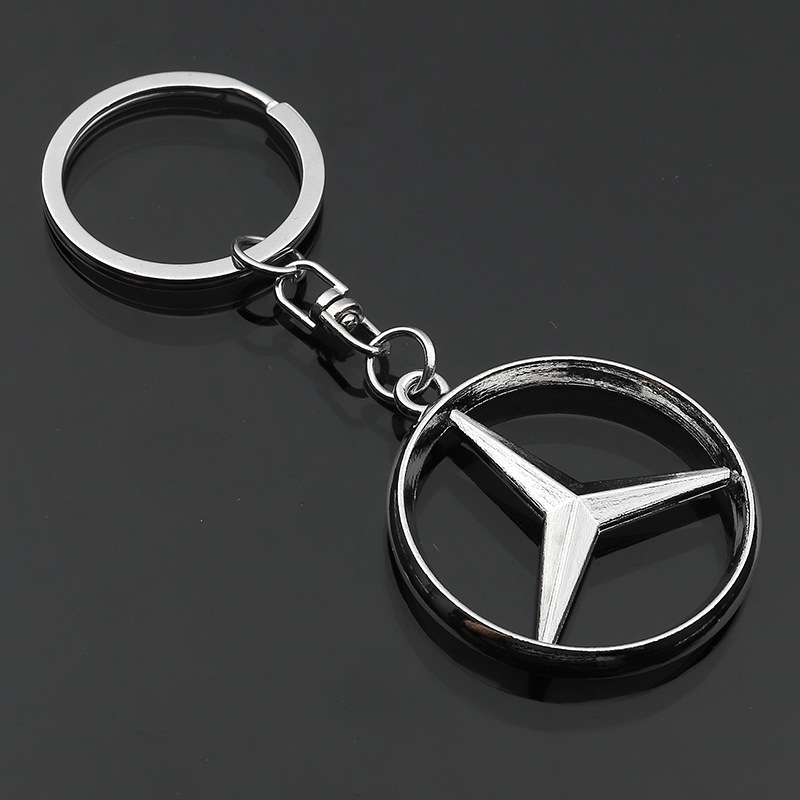Zinc Alloy Metal Car Logo Key Ring Eight-button Buckle Rotating Key Ring Pendant For Gifts To Send Mercedes Benz Car Holders