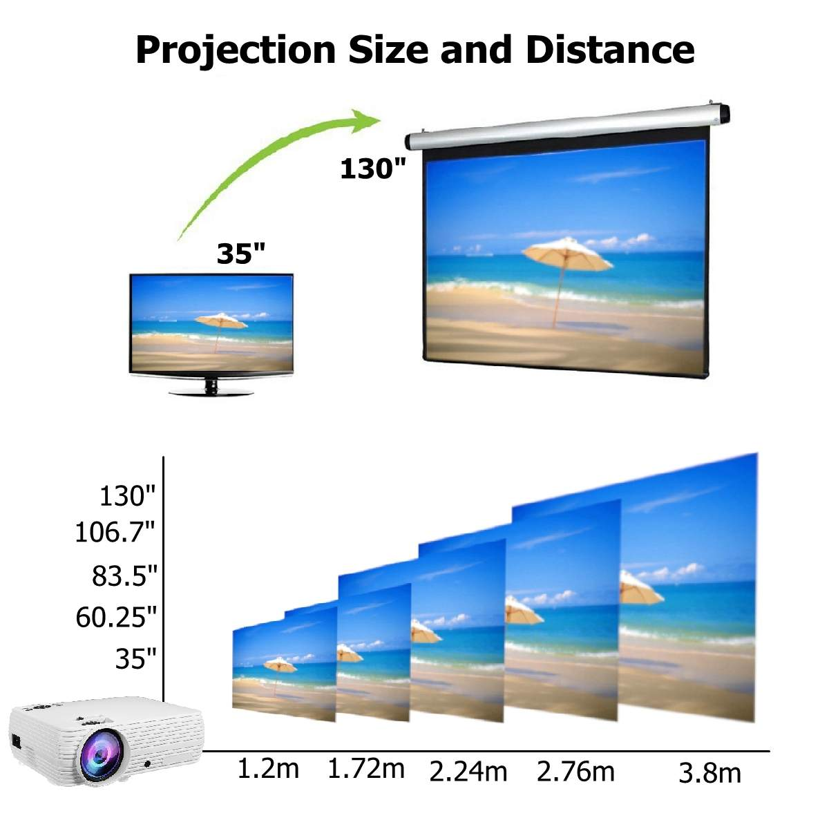 Electronics - TheaterMax™ X5 LCD Projector 7000 Lumens Support 1080P HD Multimedia Home Cinema Smart Home Theater
