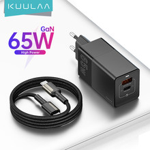 Chargeur KUULAA 65W GaN chargeur rapide 4.0 3.0 USB C chargeur adaptateur double pour MacBook Air iPad iPhone 12 Pro Samsung Huawei Mate20
