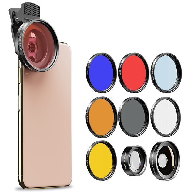 APEXEL 52mm 9in1 Full filter Lens Kits 0.45x wide+15x macro Lens 7in1 Full Blue Red Color Filter+CPL ND Star Filter for phones