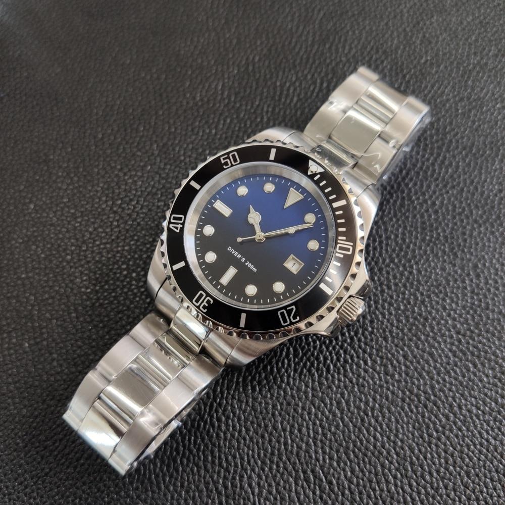 2019 neue Mode Edelstahl Quarz Uhren 200M Wasserdichte Metall Armband Luxus Schwarz Gost Tauchen Armbanduhr für Männer männlichen