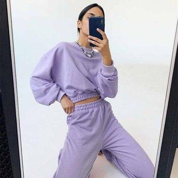 Autumn Winter Purple Pants Streetwear High Waist Sweatpants Women Casual Sport Joggers Pants Bottoms Trousers Casual Solid Suits